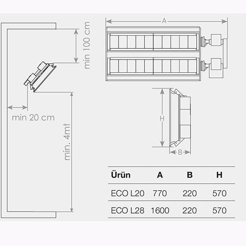 ecol seramik radyant ısıtıcı montaj ölçüleri
